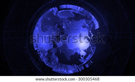 detailed globe 3d render. two globes one inside another with rich details and surrounded elements. #300305468