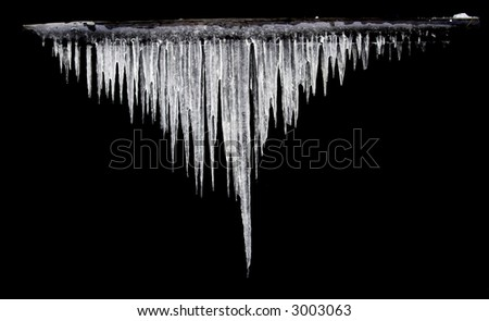 icicles on the black background isolated Royalty-Free Stock Photo #3003063