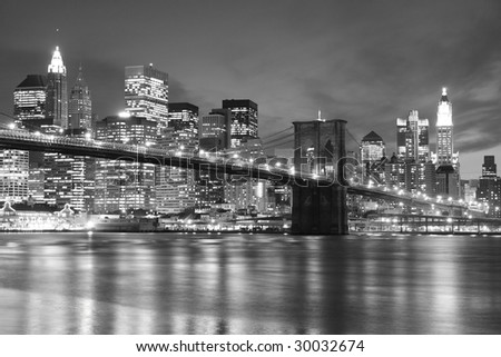 Brooklyn Bridge and Manhattan skyline At Night, New York City #30032674