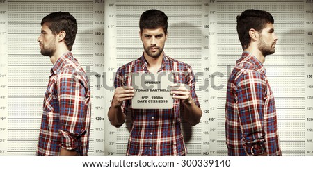 Serial killer mugshot in police office