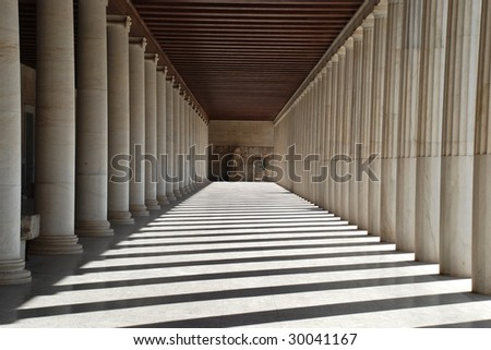 Ancient Agora. Ancient greek stoa. Column arcade. #30041167