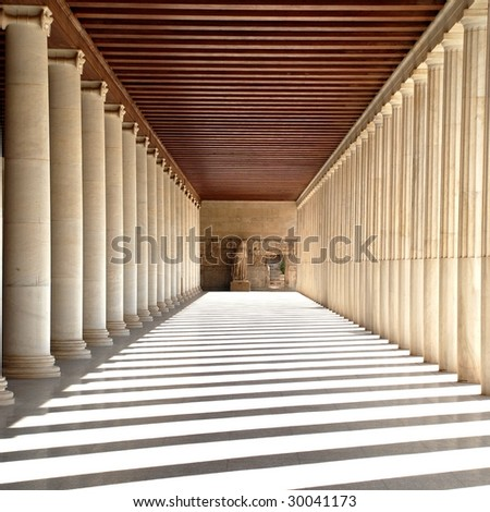 Ancient Agora. Ancient greek stoa. Column arcade. #30041173