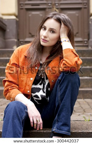 Beautiful young woman with long brown hair #300442037