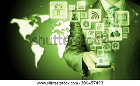 Business man using smart phone with social media icon set #300457493