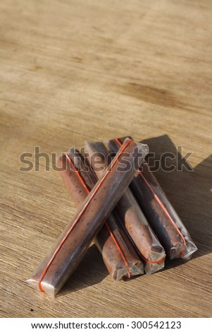 four shrimp paste using wood background under the sun light #300542123