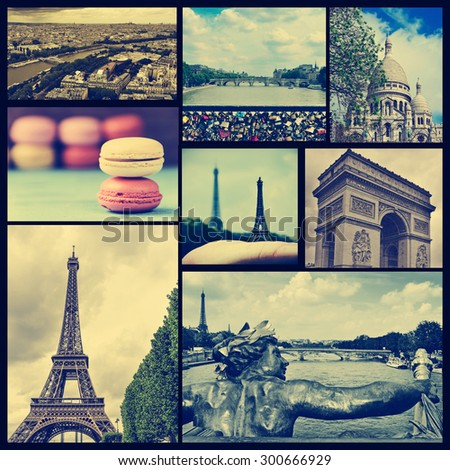collage of some pictures of different landmarks in Paris, France such as the Eiffel Tower, the Basilica of the Sacred Heart, some bridges above the Seine River or the Arc de Triomphe, cross processed