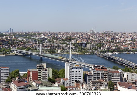 ISTANBUL, TURKEY - MAY 11, 2015: Photo of View of the historic center and the bridge across the Golden Horn. #300705323
