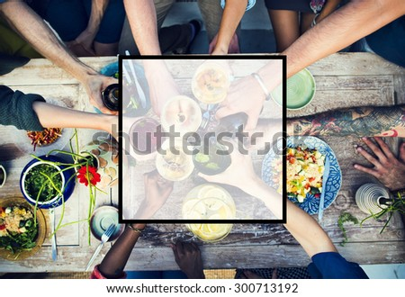 Summer Togetherness Friendship Square Copy Space Concept #300713192