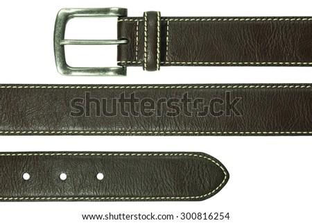 Leather belt isolated on white background Royalty-Free Stock Photo #300816254