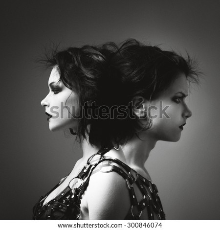 Two-faced, one side the girl with another guy. Photo art in black and white style
