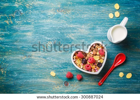 Delicious granola with berries. Food background with copyspace