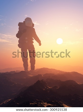Astronaut moves around the planet #300925538