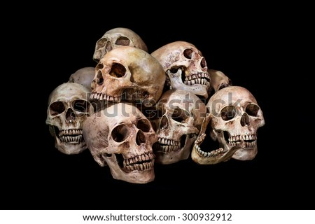 Awesome, pile of skull, on black background, Still Life style