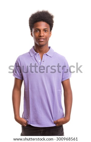 A casual young black boy posing isolated #300968561