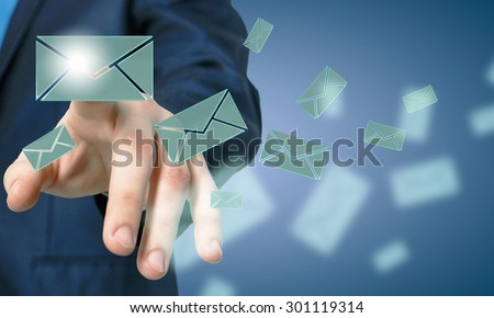 Close up of businessman hand touching icon on screen #301119314