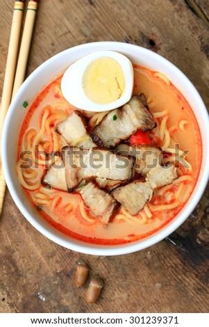 Spicy pork ramen soup - Japanese food #301239371