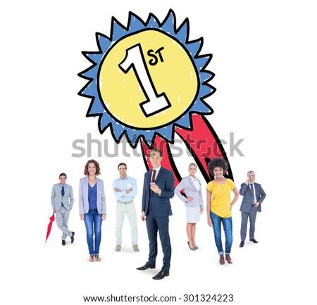 Business team against winners badge #301324223