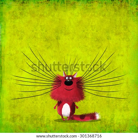 A silly red cat with long whiskers standing on a beautiful lime background.
