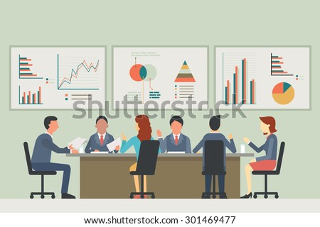 Businesspeople, man and woman, talking, discussing in meeting room. With chart and graph statistics background. Diverse, multi-ethnic, flat design.  Royalty-Free Stock Photo #301469477