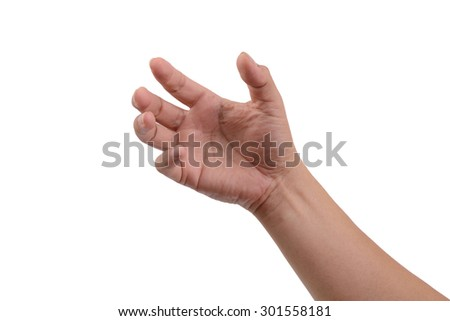 One hand like holding something that's invisible on white background. #301558181