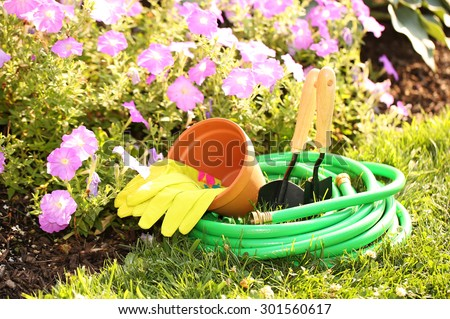 Garden tools on green grass in garden with flowers #301560617