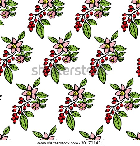 vector seamless pattern of coffee branch with flowers and coffee fruits on it #301701431