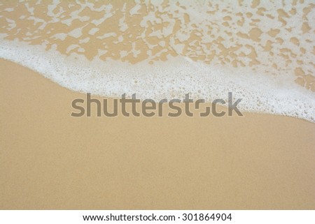 White bubbles created on the beach by ocean waves on seashore #301864904