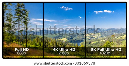 Television display with comparison of resolutions. Full ultra HD 8k on modern TV.