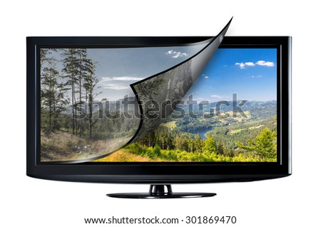 Television display with new technology. Full ultra HD 8k on modern TV.