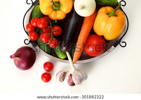 collection fruits and vegetables isolated on a white background #301882322