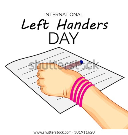 Vector illustration of a Stylish Hand and page for International Left Handers Day. #301911620