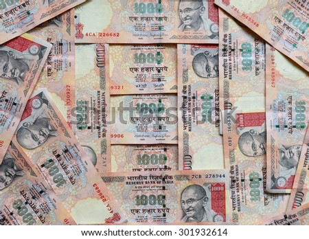 Indian currency or money 1000 Rupee notes, whole background #301932614