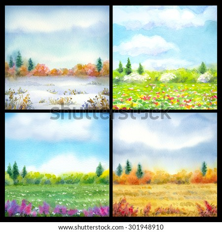 Panorama of wide prairie and forest edge on horizon in different time of year. Colorful artistic handmade bright watercolour scene on paper backdrop with space for text isolated on black background  #301948910