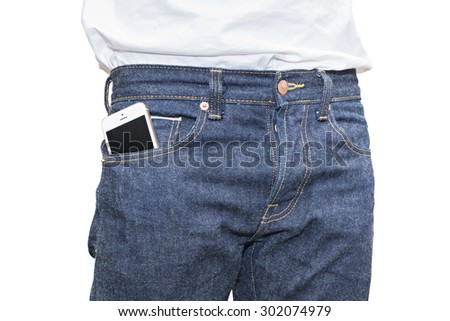 phone in pocket of blue jeans denim, 100% Cotton Unsanforized Denim Red Selvage Jeans isolated on white background, selective focus (detailed close-up shot) #302074979