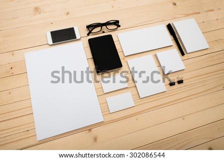 Blank Stationery Set on wooden background