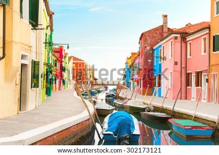 Street view in Burano, Venice Italy. #302173121