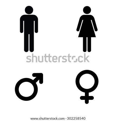 A man and a lady toilet sign and male and female symbols Royalty-Free Stock Photo #302258540