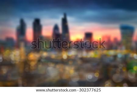 Night city lights blur, London