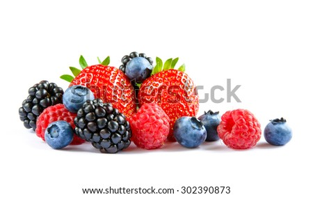 Big Pile of Fresh Berries on the White Background. Ripe Sweet Strawberry, Raspberry, Blueberry, Blackberry #302390873