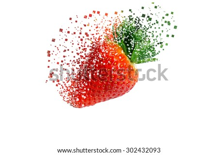 Strawberry in pixel explosion effect on white background