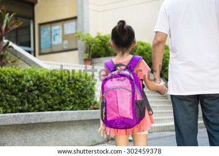 Father Walking To School With Children #302459378