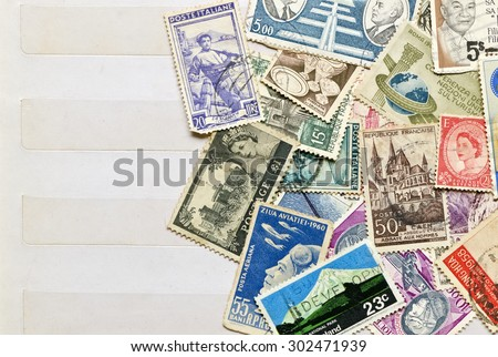 Used stamps mail of  different countries on the book collecting stamps page. #302471939
