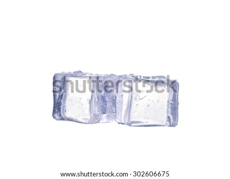 Three ice cubes on white background. #302606675