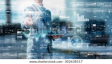 Businessman press on digital screen, digital layer effect, business strategy concept Royalty-Free Stock Photo #302638517