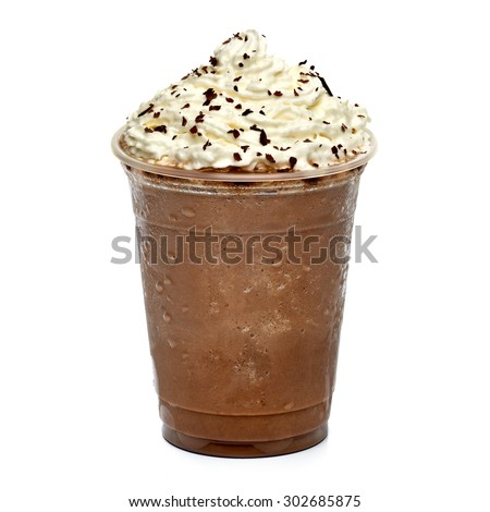 Frappuccino in takeaway cup isolated on white background #302685875