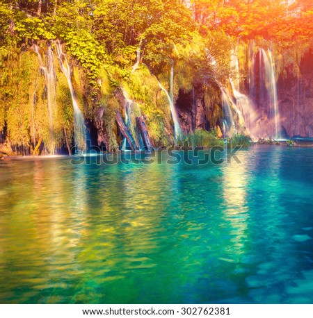 Colorful summer morning in the Plitvice Lakes National Park. Croatia. Europe. Lomography stylization and instagram toning effect #302762381