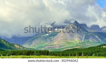 clouds in Glacier National Park in summer #302946062