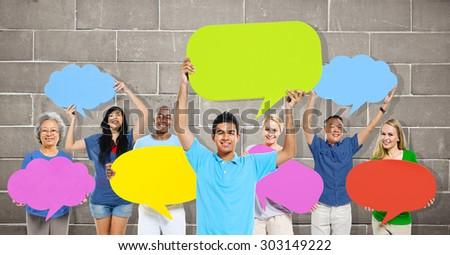 Diversity People Holding Colorful Speech Bubbles Concept #303149222