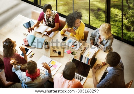 Diverse Group People Working Together Concept Royalty-Free Stock Photo #303168299