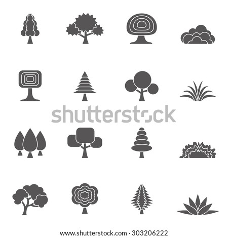 Tree and grass icons set #303206222